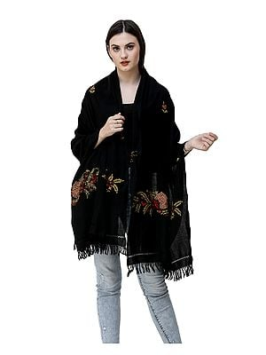 Black Woolen Stole from Kashmir with Ari-Embroidered Floral Vines By Hand