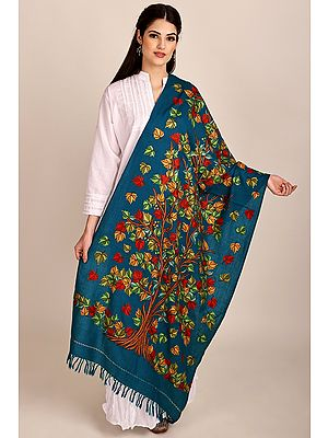 Seaport Woolen Stole from Kashmir with Hand-Embroidered Tree of Life