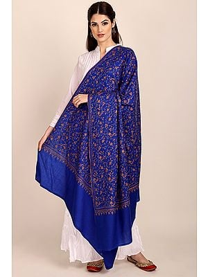 Bluing Tusha Shawl from Kashmir with Sozni Hand-Embroidered Flowers All-over