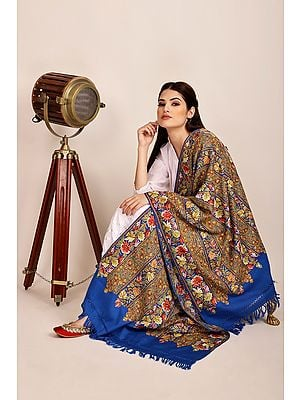 Princess Blue Woolen Stole from Kashmir with Ari-Embroidered Floral Vines By Hand