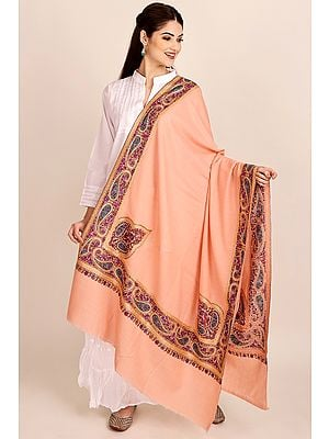 Peach-Amber Pure Pashmina Shawl from Kashmir with Sozni-Embroidery by Hand