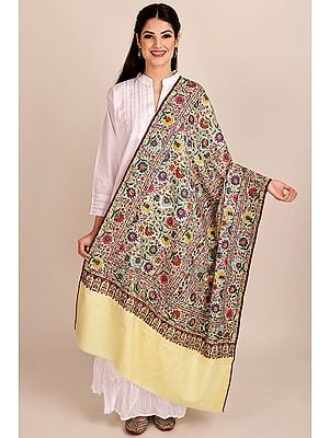 Pastel-Yellow Antiquated Pure Pashmina Shawl from Kashmir with Sozni-Embroidery by Hand