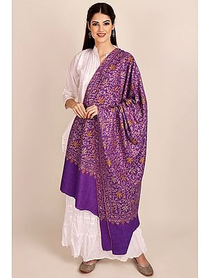 Deep-Lavender Pure Pashmina Shawl from Kashmir with Sozni-Embroidery by Hand