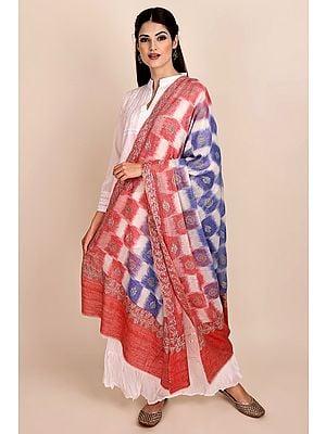 Racing-Red Ikat Handloom Shawl from Srinagar with Sozni-Embroidery by Hand