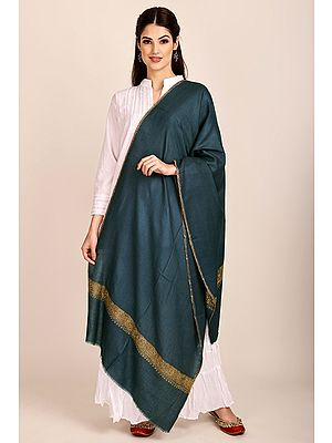 Deep-Dive Cashmere Stole from Kashmir with Sozni-Embroidery on Border