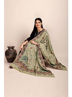 Feather-Gray Pure Pashmina Shawl from Kashmir with Sozni-Embroidered Floral Vines