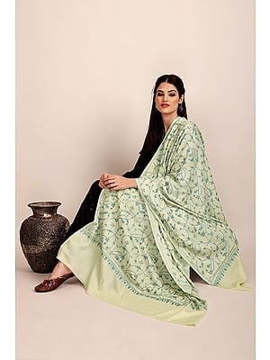 Cannoli-Cream Pure Pashmina Shawl from Kashmir with Sozni-Embroidery by Hand