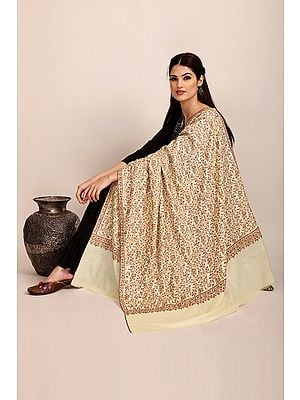 Summer-Sand Handloom Pure Pashmina Shawl from Kashmir with Sozni-Embroidery by Hand