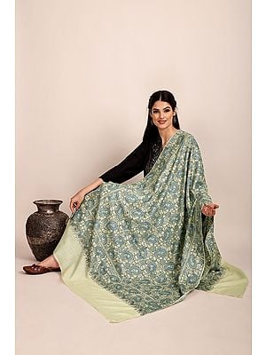 Ivory Pure Pashmina Shawl from Kashmir with Sozni-Embroidery by Hand