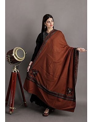 Wool Shawl From Kashmir With Sozni Hand-Embroidered Paisley Border And Corners