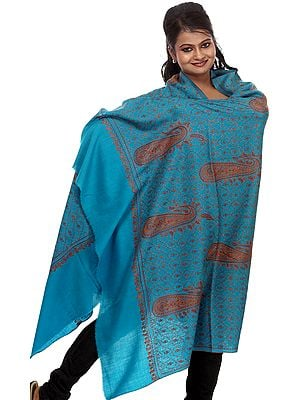 Vivid-Blue Kashmiri Tusha Shawl with Jafreen Jaal Embroidery by Hand