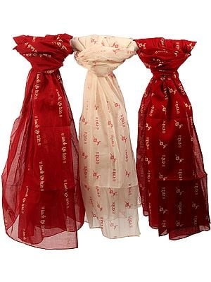 Lot of Three Radhe Radhe Prayer Shawls