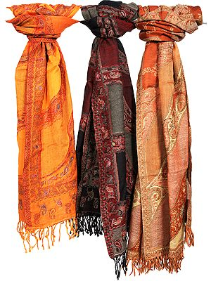 Lot of Three Boiled-Wool Stoles with Embroidery