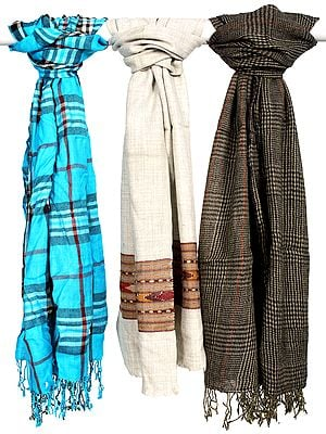 Lot of Three Assorted Pure Wool Scarves with Self-Weave