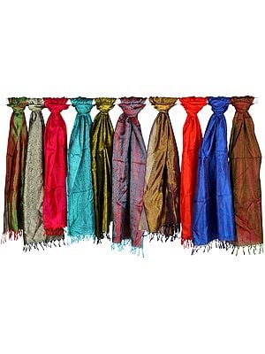 Lot of Ten Pure Silk Scarves with Tanchoi Weave