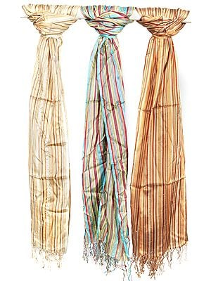 Lot of Three Pure Silk Hand-woven Stoles with Crystals
