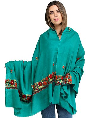 Viridian-Green Plain Shawl from Kashmir with Hand Ari-Embroidered Flowers on Border