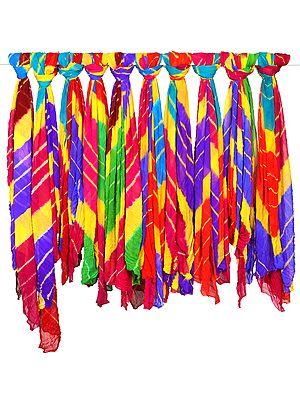 Lot of Ten Multi-Color Tie-Dye Dupattas from Jodhpur