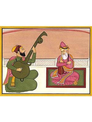 Guru Nanak, with Bhai Mardana Singing