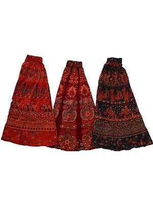 Lot of Three Floral Printed Midi Skirts