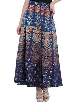 Block-Printed Sanganeri Wrap-Around Skirt from Pilkhuwa