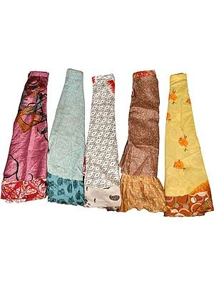 Lot of Five Wrap-Around Vintage Sari Two-Layered Long Skirts