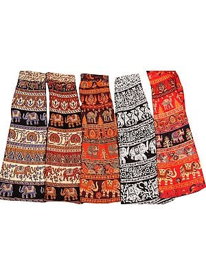 Lot of Five Wrap-Around Sanganeri Printed Skirts