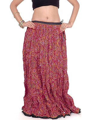Ghagra Skirt from Rajasthan with Chunri Print