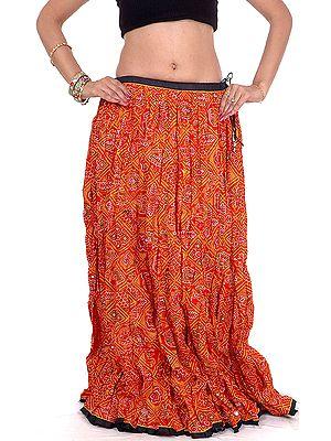 Ghagra Skirt from Rajasthan with Chunri Print