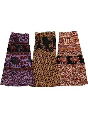 Lot of Three Wrap-Around Printed Mini-Skirts