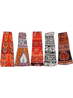 Lot of Five Printed Wrap-Around Mini-Skirts from Pilkhuwa