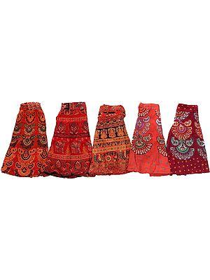 Lot of Five Sanganeri Wrap-Around Printed Mini-Skirts