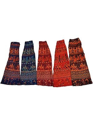 Lot of Five Wrap-Around Sanganeri Printed Midi Skirts
