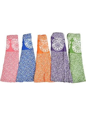 Lot of Five Wrap-Around Mini Skirts with Block-Print in Pastel Colors