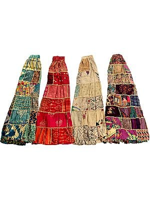 Lot of Four Long Printed Dori Skirt from Gujarat with Patch Work