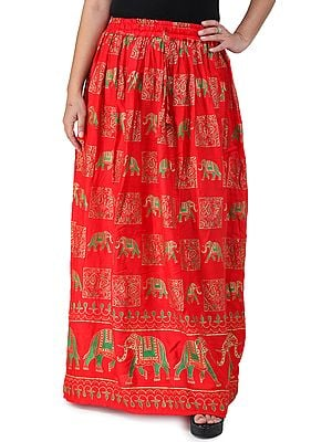 Digitally Printed Casual Skirt with Motifs of Elephants And Flowers From Pilkhuwa