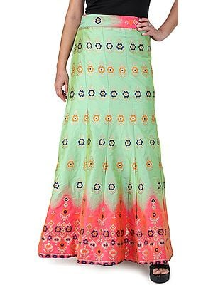 Kiwi-Green Wrap-On Long Brocade Skirt from Gujarat with Flower Motifs All-Over and Pink Border