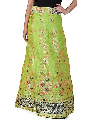 Titanite-Green Wrap-On Long Brocade Skirt from Gujarat with Floral Vines