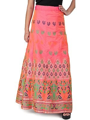 Coral-Paradise Wrap-On Long Brocade Skirt from Gujarat with Peacock Motifs (Dual-Tone)