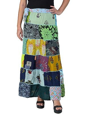 Printed Long Boho Wrap-On Long Skirt from Gujarat with Patch Work