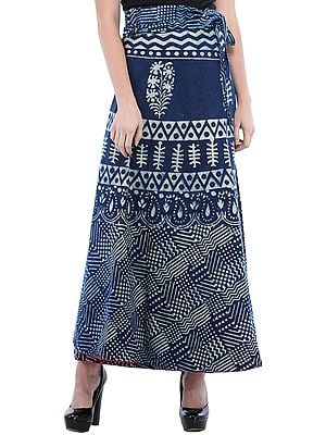 True-Navy Wrap-Around Long Skirt from Pilkhuwa with Printed Floral and Patterns