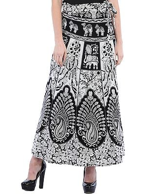 Black and White Wrap-Around Long Skirt from Pilkhuwa with Printed Paisleys and Animals