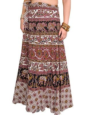 Rose of Sharon Wrap-Around Skirt from Pilkhuwa with Printed Animals and Flowers