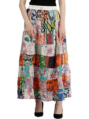 Long Printed Boho Skirt from Gujarat with Patch Work and Dori on Waist