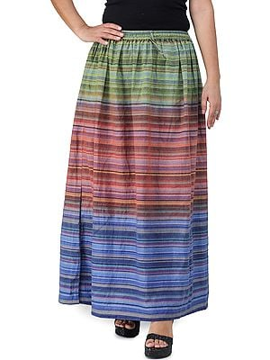 Long Summer Skirt with Stripes Woven in Multi-Color Thread and Dori on Waist
