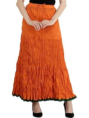 Autumn-Sunset Jodhpuri Leheria Long Skirt with Printed Florals and Dori on Waist