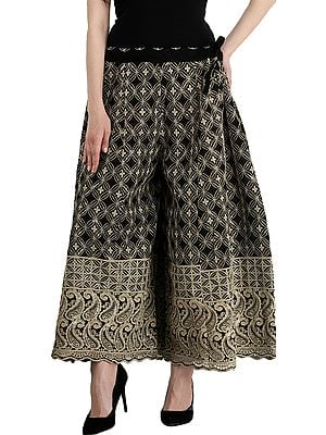 Phulkari Flared Palazzos From Punjab with Embroidered Paiselys and Sequins All-Over