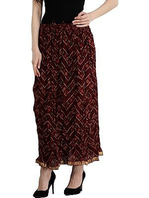 Oxblood-Red Elastic Long Skirt with Bandhani Print and Gota  Border