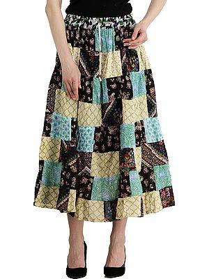 Banana-Cream Printed Boho Midi Skirt from Gujarat with Patch Work and Dori on Waist