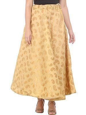 Moccasin Long Lehenga Skirt  from Gujarat with Zari Woven Golden Paisleys All-Over